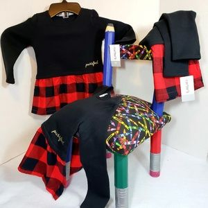 Carter's little girls Black/red plaid dress